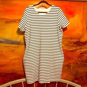 Lauren Ralph Lauren Striped Shift Dress w/ Pockets